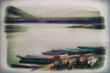 Digital painting,Old painting Boat and carTravel services around the lake Mae Ngad dam  Chiang Mai Province, Thailand,on canvas Standard-Bild