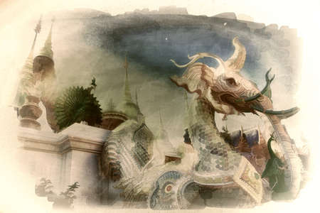 Digital painting,Old painting, mythical animal statues, Buddhism in northern Thailand,on canvas