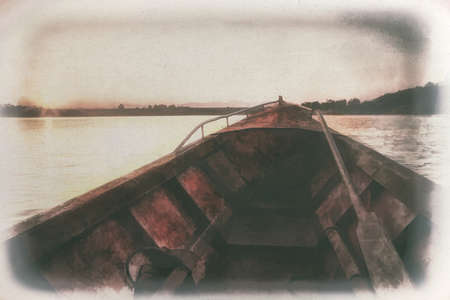 Digital painting , Old painting Prow boat on lake at sunset on canvas