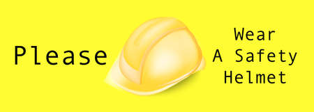 Vector illustration,Warning sign safety, Helmet with text ,please wear a safety helmet.For factories or construction sites