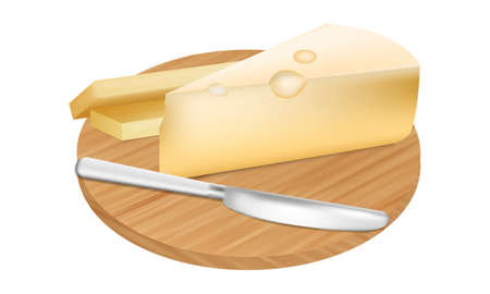 Vector illustration,yellow Cheese on cutting board and metal knife.