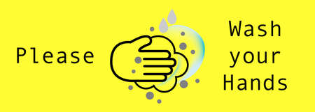 Vector illustration,Sign information Notice,warning sign Please wash your hands with Hand washing icon Illustration