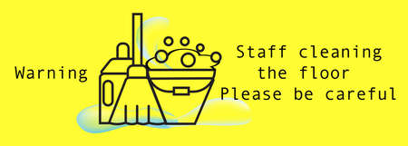Vector illustration,Sign information Notice,warning sign,Staff cleaning the floor Please be careful with Floor mopping icon Illustration