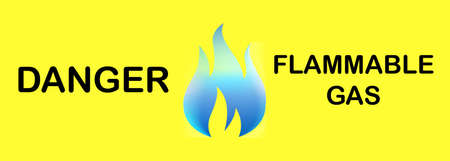 Vector illustration,Sign information Notice,warning sign,With text Danger Flammable Gas and fire icon
