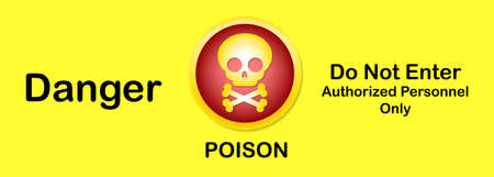 Vector illustration,Sign information Notice,warning sign,With text ,Danger poison Do not enter Authorized Personnel Only and Skull ,Bones Icons Illustration