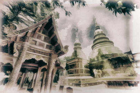 Digital painting,Old painting,Wat Phra Singh Woramahawihan Old temple in northern Thailand, Chiang Mai Province,on cavas
