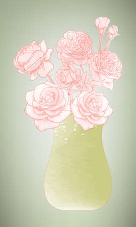 Vector illustration,Flowers in a vase ,vintage,Classic style