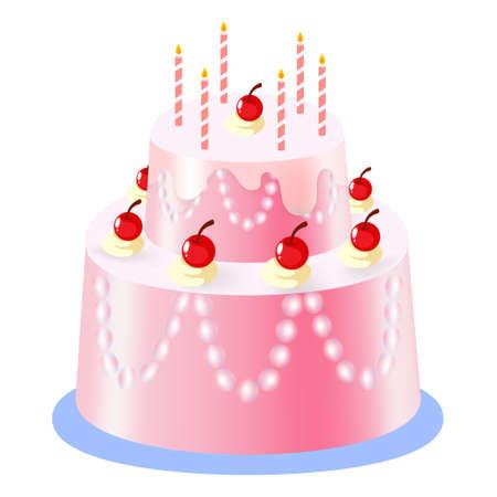 Vector illustration,Birthday cake and cherry on cream on white background
