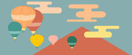 Vector illustration, group of balloons above the mountain,Abstract style Illustration