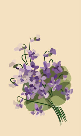 Bouquet of Flower in vintage style. Hand drawn flowers. Vintage card with blossoming flower. Vector illustration Illustration