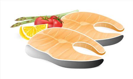 Vector illustration,grilled fish, lemon and vegetables on white background Illustration