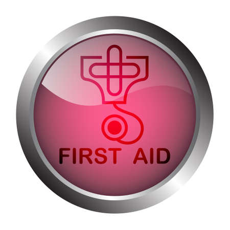 Vector illustration,First Aid metal Button or label  with cross and stethoscope icon