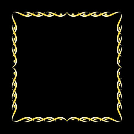 Vector illustration,Gold Retro art and graphic Decorative, Frame,Border Design on black background Illustration