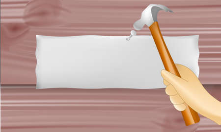 Vector illustration,Hammer a nail into a wall for sign on a wooden wall. Illustration