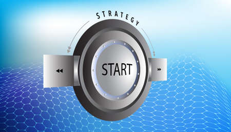 Perspective Push button future start strategy on abstract background
