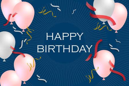 Pink and white Balloon Theme Happy Birthday background