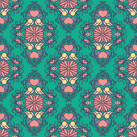 floral heart seamless repeat pattern in grape compote, coral pink, pale sunlight, almond oil, peach nougat, faded denim and biscay green Ilustração