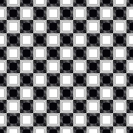 mini check seamless repeat pattern with hexagons in next-level black and white