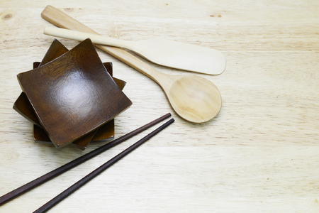 chop stick: wood set for cooking Stock Photo