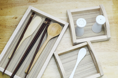 chop stick: wood kitchen and spoon Stock Photo