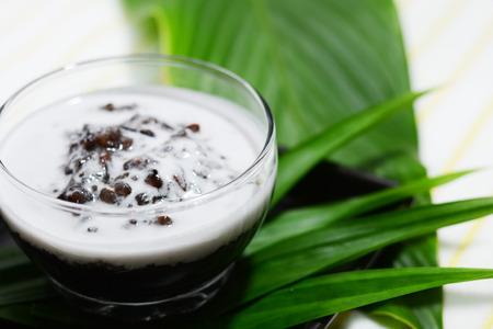 coconut milk: black sticky rice in coconut milk Stock Photo