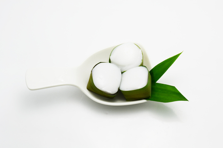 pandan: Thai coconut jelly in pandan cup Stock Photo