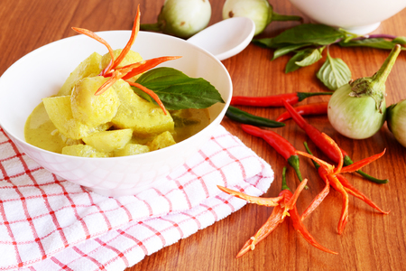 fish ball: fish ball and green curry Stock Photo