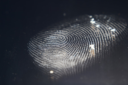 finger print: hand and finger print on screen Stock Photo