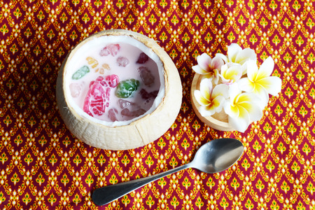 coconut milk: Thai style dessert yam in coconut milk Stock Photo