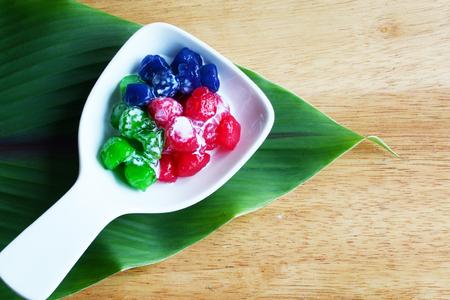 dring: Thai style dessert ruby in coconut milk