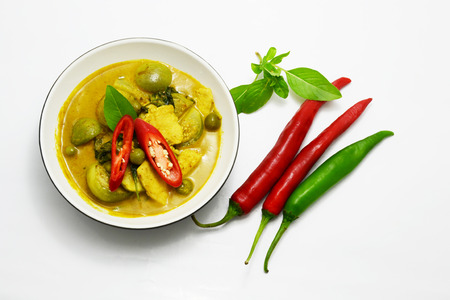 chicken with green curry soup, Thai food