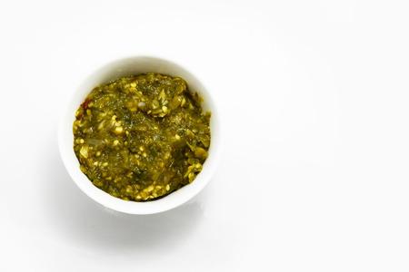 chili sauce: green chili sauce Stock Photo