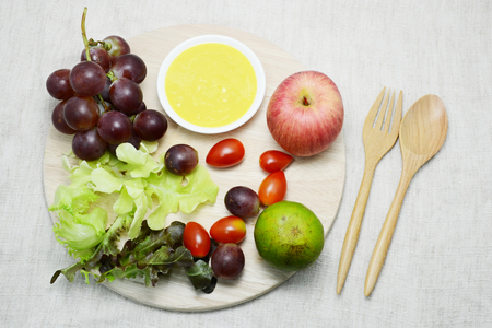 organics: salad and organic food for diet and healthy Stock Photo