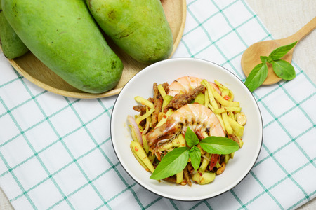 green papaya salad: green mango salad with shrimp