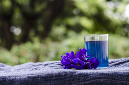 butterfly pea or blue pea drink juice Stock Photo