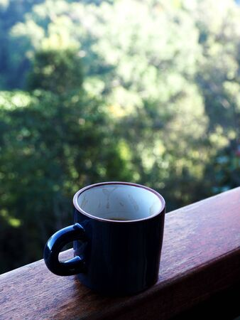 coffee cup top view and natural park out door work Standard-Bild - 138626644