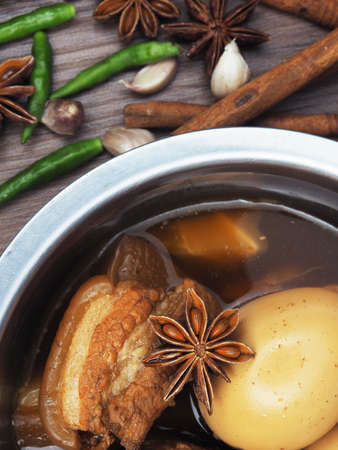 stewed and stewed recipe for beeb pork eggs and all meal herb star anise cinnamon Standard-Bild