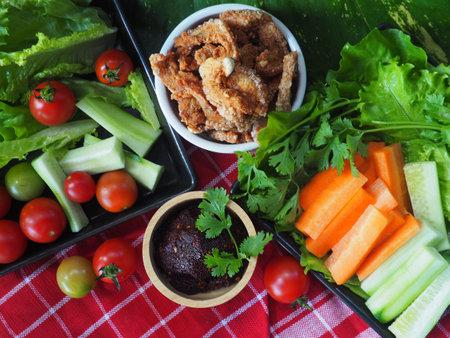 cruisine Thai original northern food Tadan dip and Capmoo Standard-Bild