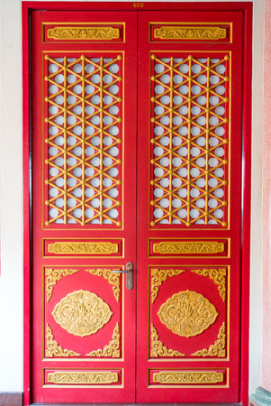 red door: Red door chinese style in the temple