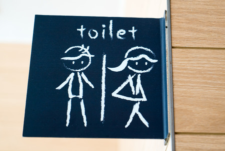 public restroom: Public restroom signs with a man and lady symbol