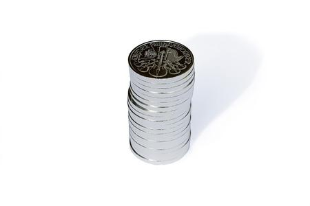 austrian: silver coins austrian vienna philharmonic pile