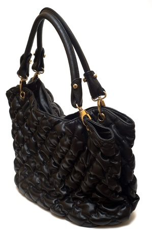 rumple: Bag female from a black skin as an element of a female accessory Stock Photo