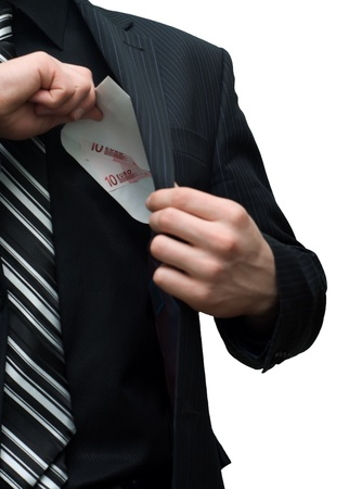 strip shirt: Envelope with euro money in a pocket of a jacket at the man Stock Photo