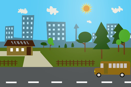 childern: good morning, lets go to school by bus Illustration
