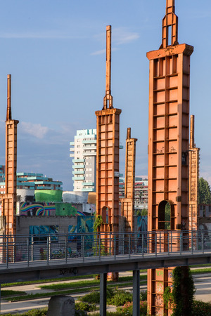 industrial park: View of parco Dora park in Turin with the old industrial ruin. Stock Photo