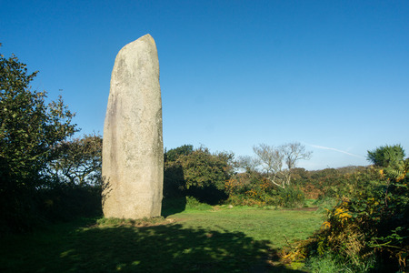 The menhir of Kerloas, the bigger standing upright menhir at the Bretagne, Finistere,  France. Stock Photo