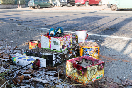 TURIN, ITALY - JANUARY 1, 2016: Remnants of fireworks at a waste collection after the traditional new years celebration