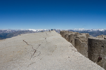 The summit of Mont Chaberton with ruined artillery turrets Stock Photo