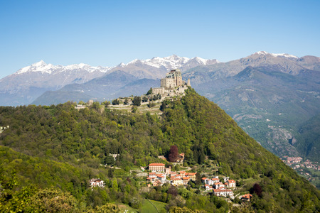 View of the Sacra di San Michele ( Saint Michaels Abbey) ,religious complex, under Benedictine rule,in Piedmont, Italy.