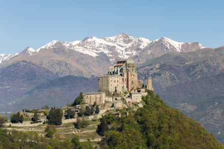 mount saint michael: View of the Sacra di San Michele ( Saint Michaels Abbey) ,religious complex, under Benedictine rule,in Piedmont, Italy.